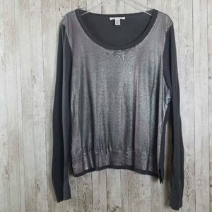 Kenneth Cole Metallic Sliver Gray Sweater S